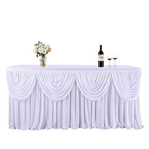 NSSONBEN Tischrock Weiß Polyester Tischröcke Weiss Gefaltet Tischdecke mit Swag zum Babyshower Geburtstag Bankett Hochzeit Brauttisch Party (L275cm*H77cm)