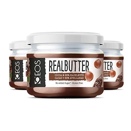 EOS - Crema de Cacao y Avellanas Saludable Pack 3 uds 200g - Sin azúcares añadidos y 65% Avellana