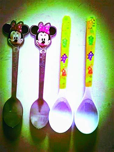 Mickey Mouse Cuchara de acero inoxidable y Teletubbies, melamina libre de BPA, cubiertos para niños, herramienta exclusiva de comida de dibujos animados (paquete de 4)
