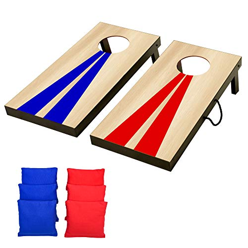 GoSports Portable Junior Size Cornhole Game Set with 6 Bean Bags - Great for All Ages Indoors & Outdoors (Choose Between Classic or Wood Designs)