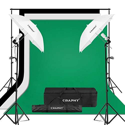 CRAPHY kit d'éclairage Parapluie Studio Photo 1250W 5500K Parapluie lumière du Jour Photographie avec Kits de Toile de Fond (Blanc Noir Vert), kit de Support de Fond(Livré sous Une Semaine)