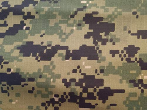 """US Navy NWU Digital Green Nyco Ripstop 65"""" Camouflage Fabric By the Yard"""