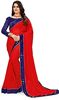 OrangeSell Women`s Marble Silk Pearl Work Saree with Blouse Piece (Red)
