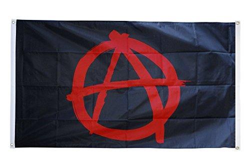 Digni Drapeau de Balcon (avec 4 Oeillets) Anarchie Rouge - 90 x 150 cm Sticker Gratuit