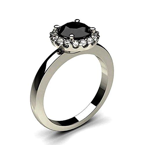 JewelsForum 1.24 Quilates Diamante Negro Anillo De Compromiso Clásico Con Solitario Diamante De Oro Blanco De 14 K Para Mujer