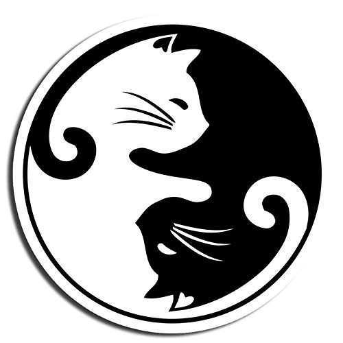 Black and White Cat Sticker Yin Yang Stickers Waterbottle Sticker Tumblr Stickers Laptop Stickers Vinyl Stickers