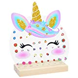 Basumee Earring Holder 3D Unicorn Earring Studs Organizer Stand Acrylic Earring Storage for Girls Cute Round Jewelry Display Rack with 74 Holes, Rainbow