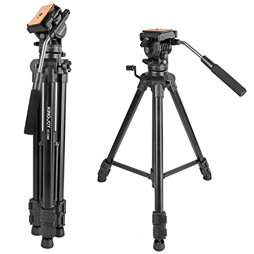Video Tripod with Fluid Head, Kamisafe KINGJOY VT-1500 Heavy Duty Camera Tripod Travel Tripod Aluminum Compatible for DSLR SLR Nikon Canon Sony Camcorder DV with Carry Bag