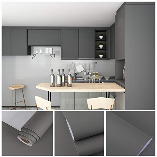 VEELIKE Removable Gray Contact Paper 15.7'×118' Peel and Stick Extra Thick Waterproof Oil Proof Self Adhesive for Wall Cabinets Countertops Covers Kitchen Furniture Decorative Wallpaper Bedroom