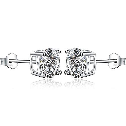 925 Sterling Silver Zircon Ear Studs Hypoallergenic Nickel-Free Earrings for Women (White, 4)