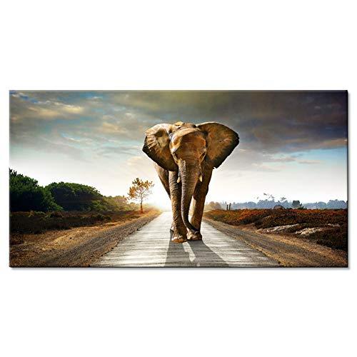 Lienzo decorativo elefante salvaje africano Lienzo para pared cuadro mural para decoración del hogar Lienzo Decorativo para Tu Salón o Dormitorio (Sin marco) 40 * 60cm