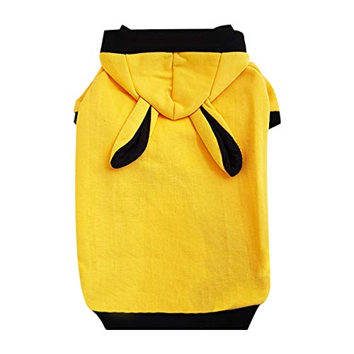 Youthdog Rabbit Costume Hoodie Dog Clothes for Small Medium Large Dogs pet Sweater Sweatshirts French Bulldog Chihuahua Yorkie Apparel (Yellow Small)