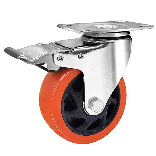 Ruedas giratorias industriales de 10,16 cm, juego de 4 ruedas con freno de poliuretano con capacidad de carga de freno, 1200 kg, color: naranja