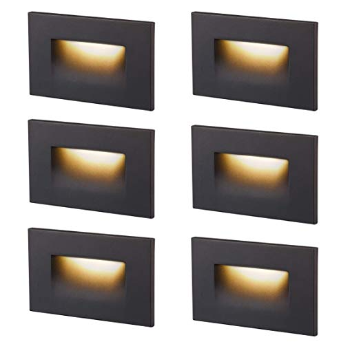 Cloudy Bay Dimmbale Upgraded 3 Color 120V LED Indoor Outdoor Step Light,3000K/4000K/5000K 3W 55lm,Stair Light,Oil Rubbed Bronze,6 Pack