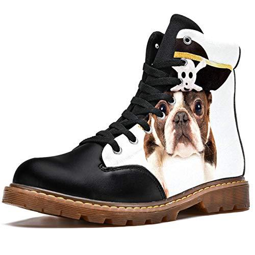 Bennigiry Dogs Pirates Bulldog Hat Botas de Invierno Zapatos clásicos de Lona de caña Alta para Mujer