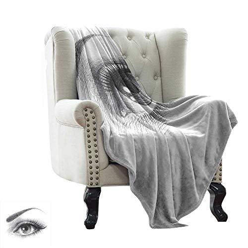 Couvre-lit pour canapé, crayon dessin, illustration d'un œil féminin avec de longs cils et un sourcil incurvé, gris blanc chaud et hypoallergénique lavable 60\