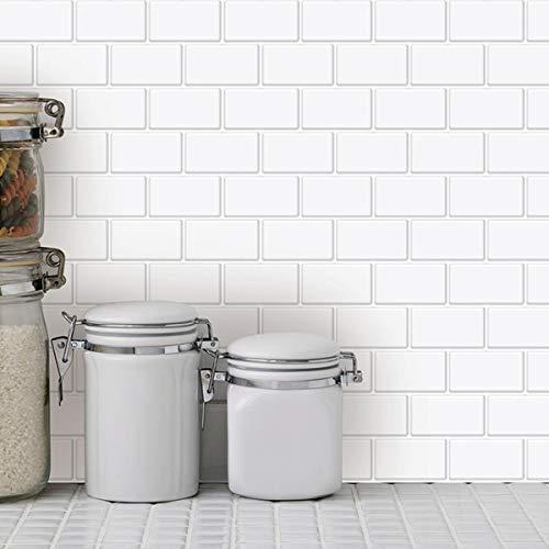 Art3d - Azulejos para cocina estilo «pegar y despegar» (30 x 30 cm), blanco