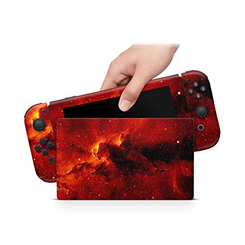 ZOOMHITSKINS Red Flames Fire Color Galaxy Sky Yellow Stars Cosmic Astral High Quality 3M Vinyl Decal Sticker Wrap, Bubble-free Install, Goo-free Removal, Nintendo Switch Compatible, Made in the USA