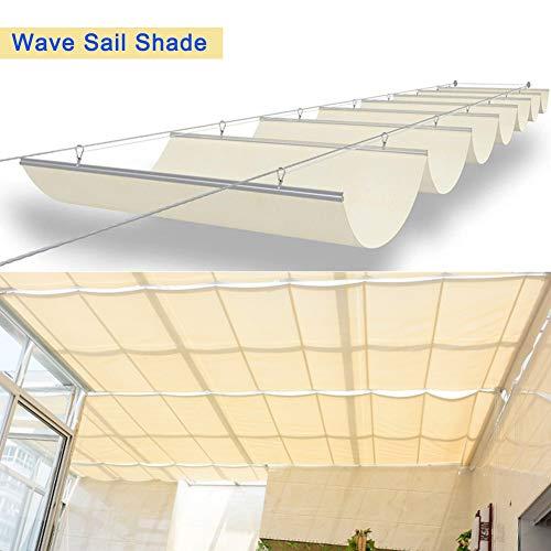 LJIANW Vela de Sombra Toldo Vela, Velas Wave Shade Retráctil, 95% Tela De Protección Solar Polietileno, Actualización 2020 for Terraza De Balcón, Cable De Alambre, 55 Tamaños