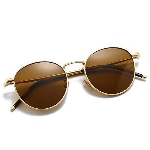 SUNGAIT Gafas de Sol Polarizadas Vintage Redondas Marco de Metal Retro Clásica Gafas de Sol Circular para Mujer Hombre-SGT059(Marco Oro/Lente Polarizada Marrón)