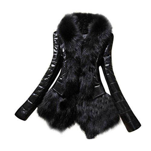 VENMO Fell Jacke Damen Winter Jacke Fellmantel Parka PU Kunstpelz Mantel Damen Fellweste Weste Frauen Lederweste Gilet (XXL, Black)