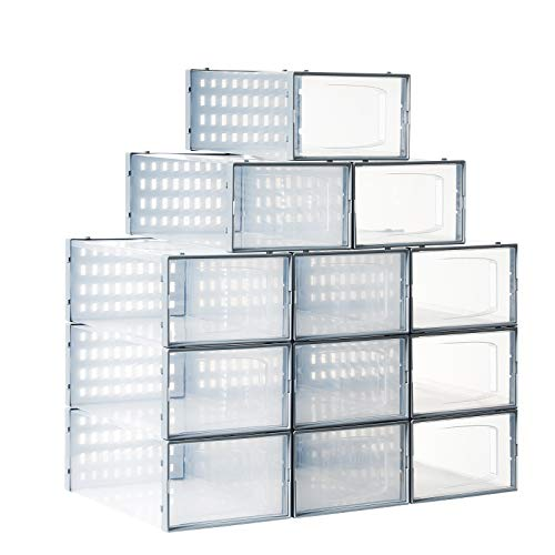 XSON Shoe Box Clear Plastic Stackable 12 Pack Shoe Storage Boxes for Closetd and Entryway -Plastic Shoe Organizer Bins For Bedroom-Fit up to us sIze 10Clear