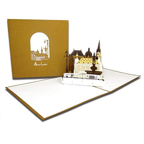 """Pop-Up Karte """" Aachen – Panorama mit Aachener Dom"""", 3D Grußkarte als Souvenir, Geburtstagskarte, Karte mit Umschlag, Einladung"""