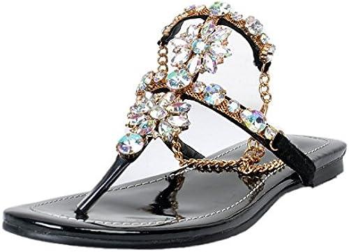 ZHZNVX Sandalias de tacón bajo Sandalias de diamantes de imitación Sandalias Sandalias zapatos de mujer Sandalias Sandalias de Bohemia