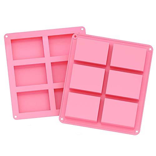 A+ 2 Stück Silikonform für Seifen, 6-Cavity Rechteckige Silikonform, für Kuchen Backen, Schokolade, Biscuit, Eiswürfel, DIY Handgemachte Seife (Pink)