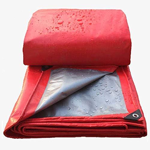 WTT Premium universele zeildoek - Duurzame waterdichte tuinhanddoek, zonnescherm in zonwerende doek (kleur: rood, afmeting: 6 m * 8 m)
