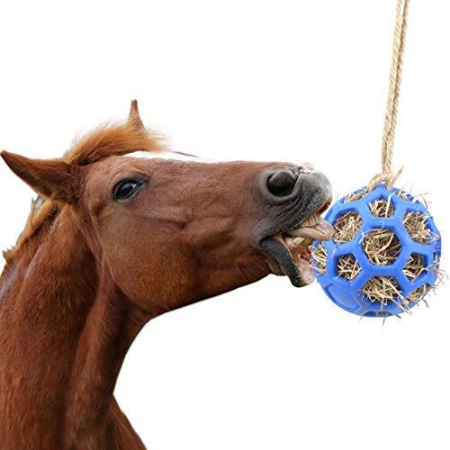 Juguete de alimentación para caballo con bola de heno y juguete para colgar para caballo estable puesto Paddock Rest