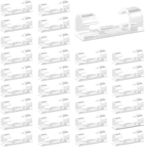 Vegena 80pcs Organizador Cables Clips Cables,Gestión Cable Eléctrico,Organizador Cables Adhesivo,Sujeta Cables Pared,Soporte Alambre Plástico Duradero,Grapas Pared para Cable,Cable USB, TV, Cargador