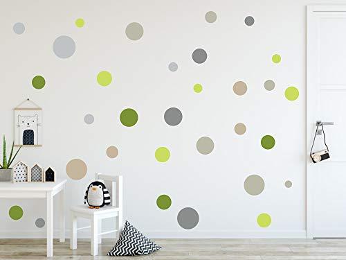 timalo® 120 Stück Wandtattoo Kinderzimmer Kreise Pastell Wandsticker – Aufkleber Punkte | 73078-SET11-120