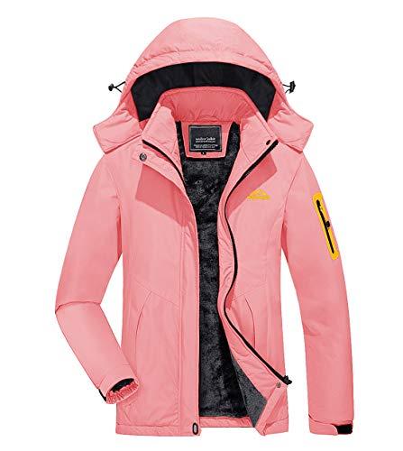 KEFITEVD Funktionsjacke Damen Wasserdicht Atmungsaktiv Winterjacke Kurz Warm Kapuzenjacke Winter Dicke Arbeitsjacke mit Multi Taschen Ski Jacke Rosa S