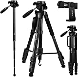 Zoegate Portable Tripod 70'/177cm Travel Camera Tripod Outdoor Compact Aluminum Alloy Video Tripod Monopod with 3-Way Swivel Pan Tilt Head Cellphone Holder Smartphone Clip for Phone