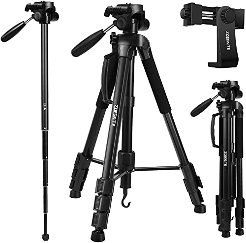 """Zoegate Portable Tripod 70""""/177cm Travel Camera Tripod Outdoor Compact Aluminum Alloy Video Tripod Monopod with 3-Way Swivel Pan Tilt Head Cellphone Holder Smartphone Clip for Phone"""