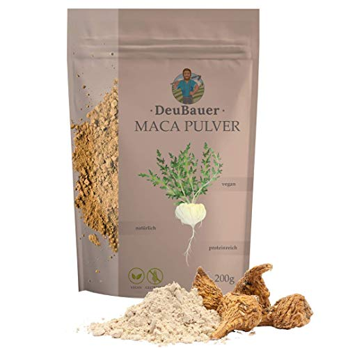 DeuBauer ® Poudre de maca [200 g] brute de racine de maca – vegan, sans gluten, naturel et riche en protéines I Maca, poudre de maca, poudre de macca