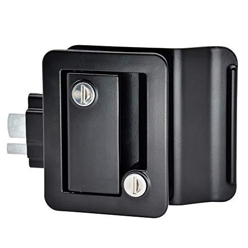 YOMILINK Upgraded RV Door Lock, Trailer Door Lock with Paddle Deadbolt, Black Camper Door Latch with 4 Keys, Zinc Alloy Metal RV Door Latch Replacement Kit for Camper Horse Trailer Cargo Hauler