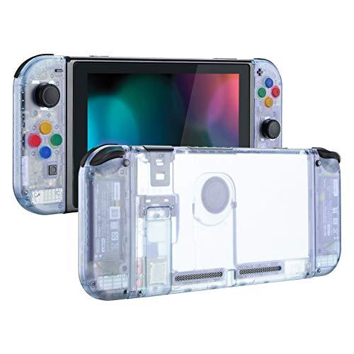 eXtremeRate Hülle für Nintendo Switch Konsole/Joycon,Case Hülle Gehäuse Tasche Zubehör Kit für Nintendo Switch Konsole,Joy Con mit Tasten, DIY-Ersatzteile für Nintendo Switch(Gletscher Blau)