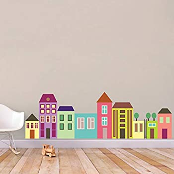 Little City Color Printed Wall Decal Nursery and Kids Room Playroom Classroom Wall Art City Scape Images PVC Wall Decor Stickers