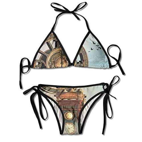 Ladie's Halter Swimwear Printed Two Piece Bikini Sets Sexy Swimsuit,Magical Enchanted Landscape Big Antique Clock Flying Birds Fairytale