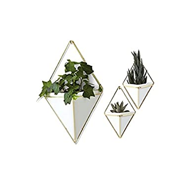 Trigg Hanging Planter Vase & Geometric Wall Decor Container, SET OF 3 White Ceramic/Brass (1 Large + 2 Small )