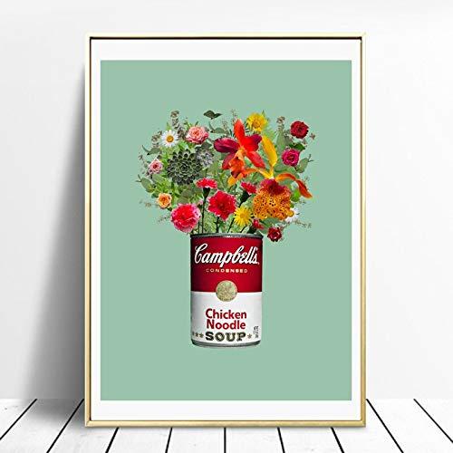 wZUN Pintura de Lienzo de Flores nórdicas, Carteles e Impresiones, imágenes murales, Sala de Estar, decoración del hogar 60X90 Sin Marco