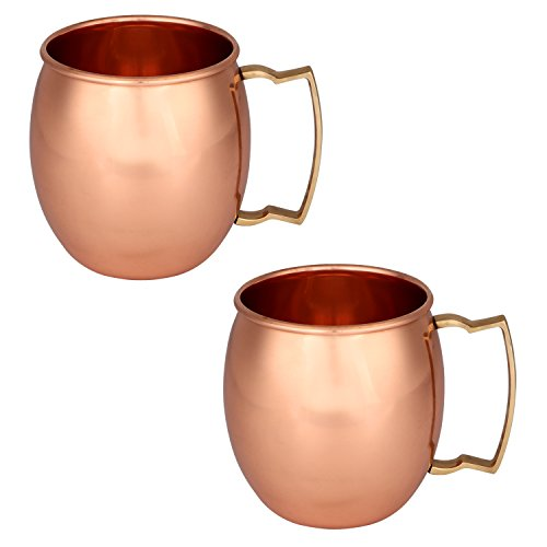 Zap Impex Moscow Mule Cup, puro rame, senza rivestimento, ideale per tutti i tipi di bevande refrigerate, set regalo da 2 bar