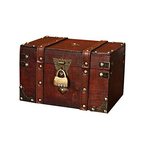 Schatztruhe Schatzkiste, Aufbewahrungsbox Aus Holz Im Vintage-Stil Verschließbar Mit Deckel Und Schloss, Für Schmuck, Andenken, Geschenke Handgefertigte Dekorative Kisten (22 * ??15 * 13,5 cm)