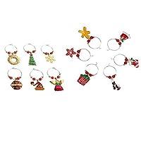 Gaoominy 12パック ワイングラスチャーム -クリスマステーマワイングラスマーカー、 ワイングラスタグ、ドリンクマーカー、ワインの用品