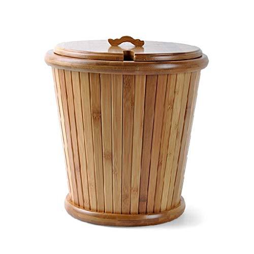 Bote de Basura Bote de Basura de bambú del 100%, Forma Creativa del Cubo, con Tapa, Desmontable Interno (Color de Madera) Bote de Basura Humano Simple