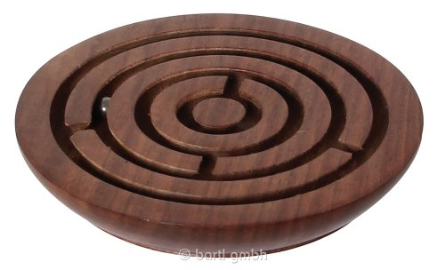 Holzlabyrinth rund - exklusives Geduldspiel aus Palisander