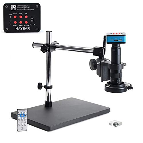 HAYEAR 4K UHD 2160P 1080P HDMI USB Industry Electronic Microscope Camera for PCD CPU Board Repair Solder with Big Boom Stand Set