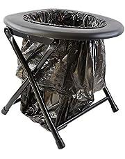 Keepa Inklapbaar campingtoilet, zwart, incl. vuilniszakken en praktische bevestigingsring.